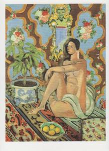 Henri Matisse Decorative Figure On An Ornamental Background Painting Postcard