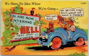 RAY WALTERS Comic Postcard No Idea Where We're Going Curteich Linen #C-663