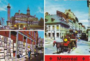 City Hall St Amable Street and Horse Drawn Carriage Montreal Quebec Canada