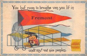 Vat Nice Peeples in Fremont Michigan~You Haf Room to Breathe~Bi-Plane~1915 PC