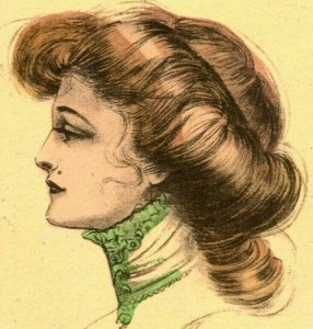 Vintage Postcard 1913 - Sketch of Victorian Woman in Profile w Lace Collar