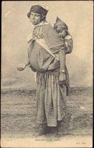 Begging Native Bedouin Girl with Child (1910s) ND Phot.