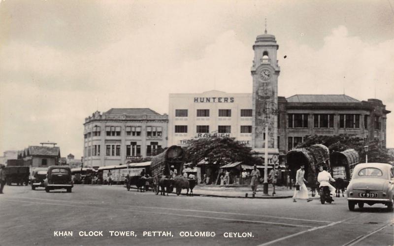 Colombo Ceylon (Sri Lanka) RPPC 1940s Cars~Hunters~Motorcycle~Covered Wagons PC