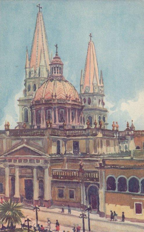 Guadalajara Cathedral Mexico Old Painting Postcard