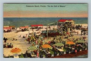 Pensacola FL-Florida, Pensacola Beach, Boardwalk, Ocean, Linen c1949 Postcard
