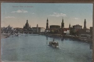 Old Postcard General View of Dresden Vintage Riverboats in Germany