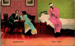 Comic Romance Champagne and Real Pain Bamforth & Co 1908 Postcard