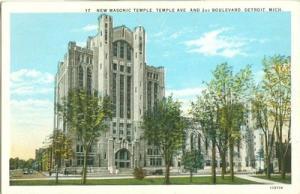 New Masonic Temple, Detroit, Michigan, 1920s unused Postcard