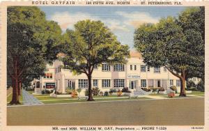 E18/ St Petersburg Florida Fl Postcard Linen Beautiful Gayfair Hotel Building