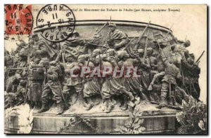 Troyes Old Postcard High relief of child Monument & # 39Aube Victory or death...
