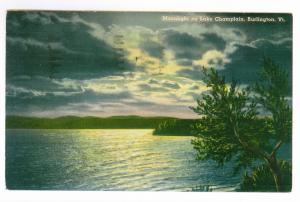 Burlington, Vermont to Waukegan, Illinois 1941 used Postcard, Lake Champlain