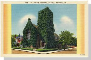 Roanoke, Virginia/VA Postcard, St. John's Church Near Mint!