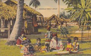 Seminole Indian Family Group In Florida