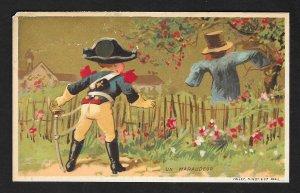 VICTORIAN TRADE CARD Menier Chocolate Boy Military Uniform 'Un Maraudeur'
