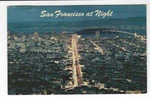 1966 postcard, San Francisco at night, California