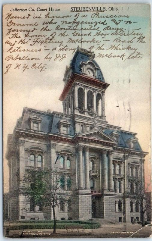 Steubenville, Ohio Postcard Jefferson County Court House Hand-Colored 1919