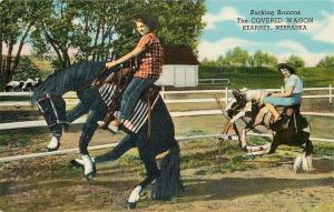 Kearney Nebraska~Covered Wagon~Bucking Broncos~1950 Linen Roadside~US 30