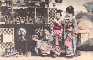 Japan Geisha Girls Cricket Cages Cricket Seller Vendor Stand Postcard J81116