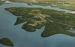 Air View of Bull Shoals, Dam, AR, Ozarks, 1952 Linen Vintage Postcard f9754