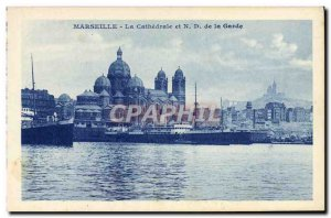 Old Postcard Marseille The Cathedral and ND Guard Boat