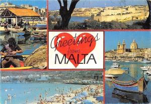 Greetings from Malta, Harbour Fishing Boats Beach Plage Bateaux Panorama
