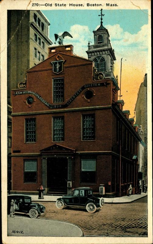 Boston, MA, Old State House, c1920s Vintage Postcard MA10254