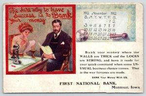 Montour Iowa~First National Bank~The Way to Success~Calendar Postcard~Nov, 1912