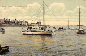 Highland Beach New Jersey Club Yachts Waterfront Antique Postcard K92109