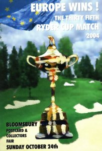 Europe Golf Ryder Cup Victory 2004 Collectors Fair Advertising Postcard