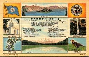 Oregon State Song Flower Bird Flower Seal & More 1941 Curteich