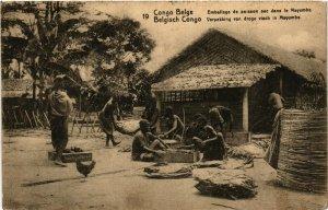 PC CPA BELGIAN CONGO, EMBALLAGE DE POISSON, MAYUMBE, VINTAGE POSTCARD (b12630)