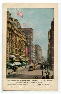 Broadway Central Hotel New York City 1910 advertising postcard