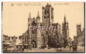 Old Postcard Belgium Ghent Panorama of the three towers