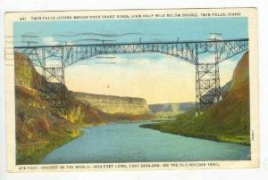 Twin Falls, Jerome Bridge Over Snake River, Twin Falls,  Idaho, PU-1936