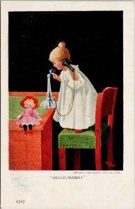 'Hello Mama' Girl Child on Telephone Doll Unused Ullman 1727 Wall Postcard G7
