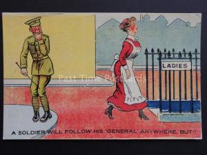 Comic Postcard ARMY / SOLDIER THEME 'A SOLDIER WILL FOLLOW HIS GENERAL' No.825