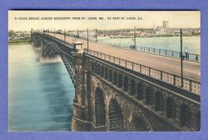Eads Bridge Across Mississippi Postcard, St Louis, MO To IL