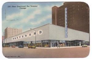Greyhound Bus Depot Chicago Illinois 1950s linen postcard