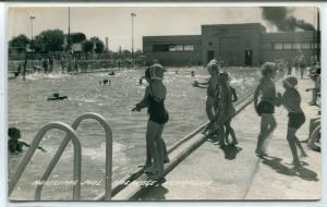 Children Swimming Municipal Pool Holdrege Nebraska 1950s Real Photo RP postcard