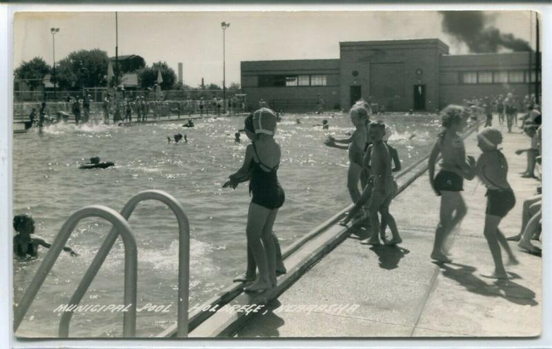 Children Swimming Municipal Pool Holdrege Nebraska 1950s Real Photo RP postcard