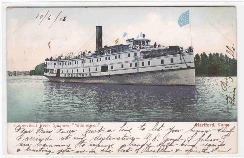 River Steamer Middletown Hartford Connecticut 1906 postcard