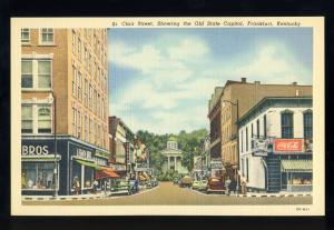 Frankfort, Kentucky/KY Postcard, St Clair Street, Theater, Coca-Cola Sign