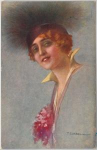 ELEGANT VINTAGE POSTCARD: Glamour, Ladies, 1917, Artist Signed by T. CORBELLA