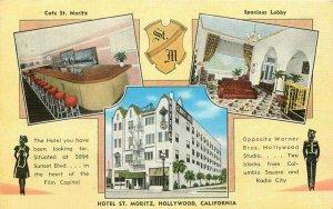 Hollywood California Hotel St Moritz  Postcard roadside Kropp Multi View 20-93