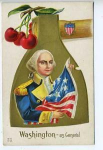 George Washington Hatchet Cherry Tree US Flag Postcard