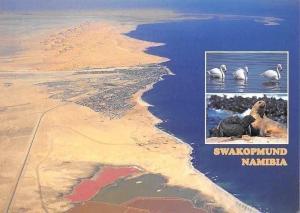 Namibia Swakopmund Aerial view Saltworks Foreground Panorama
