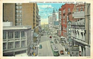 ATLANTA GA~PEACHTREE ST NORTH FROM CANDLER BLDG-HOWARD THEATRE 1929 POSTCARD