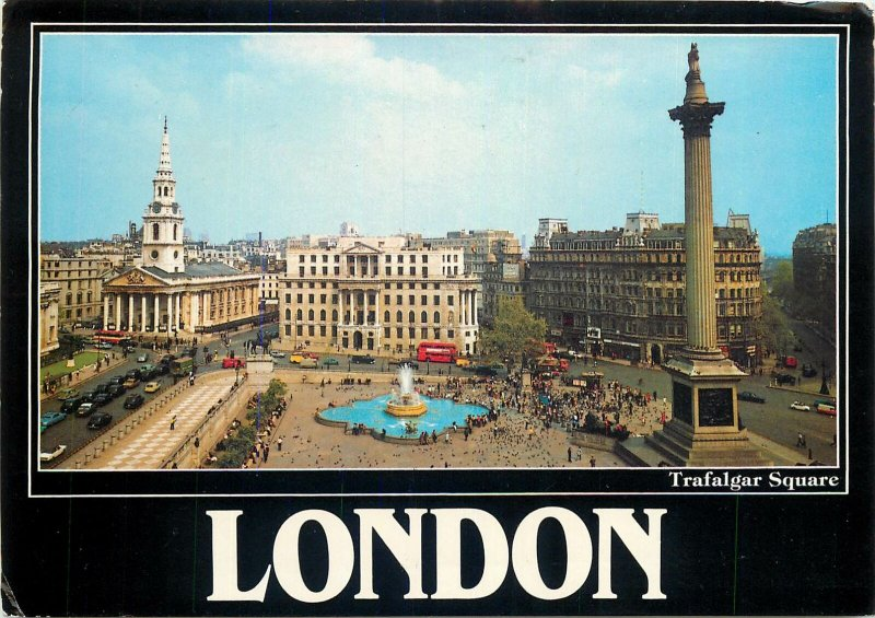 England London Trafalgar Square panoramic Postcard