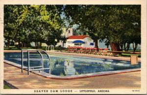 Littlefield Arizona~Beaver Dam Lodge~Building Reflects in Pool~1939 Linen PC