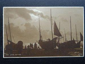 Fishing Boats SAFE ASHORE c1910 RP Postcard by Judges Folkestone cds